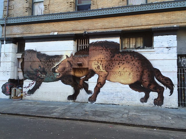 Hyena graffiti mural