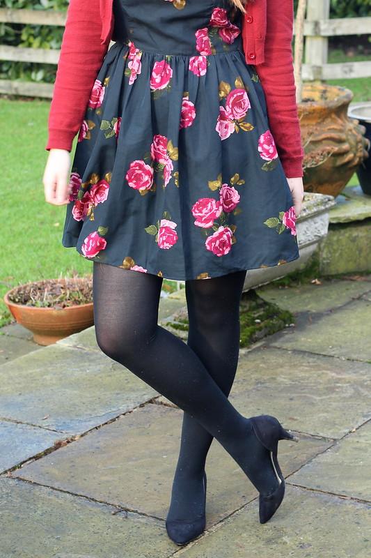 ootd, floral dress, cardigan, heels
