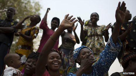 Central African Republic residents cheer interim leader Alexandre-Ferdinand Nguendet. The new leader has vowed a security crackdown on violence. by Pan-African News Wire File Photos