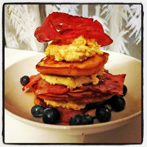 bacon egg pancake stack