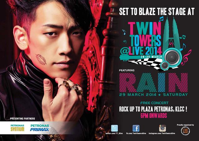 RAIN Bakal Perform di Twin Towers Live 2014