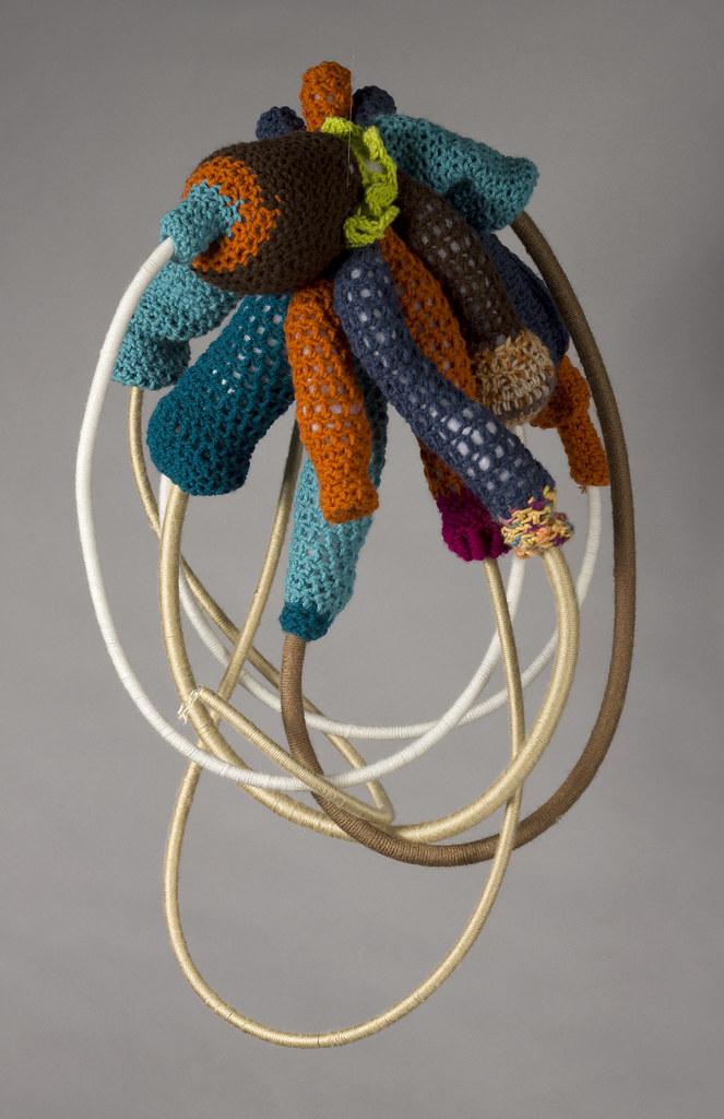 "Angela Pulvere Phallic Star 30"" x 16"" x 12"" Crochet, Acrylic Tubes, Yarn 2012"