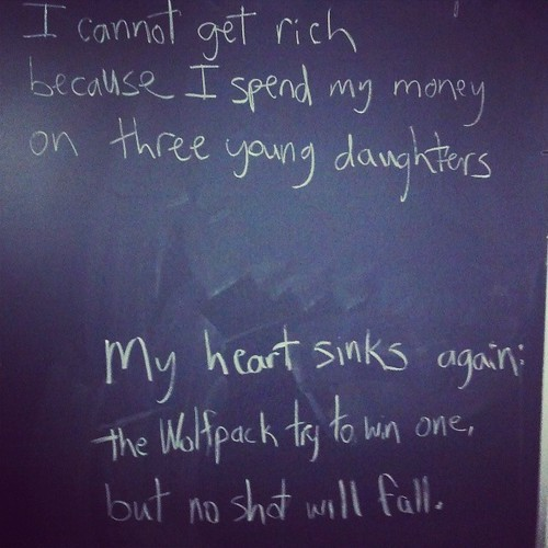 My off-the-cuff chalkboard haiku from a recent class. #teaching #poetry