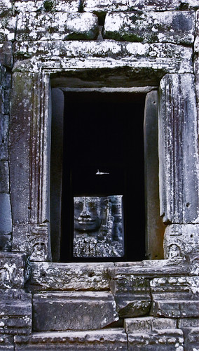window to the Bayon at Angkor Wat, Cambodia