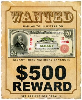 Albany GA National Banknote Wanted poster