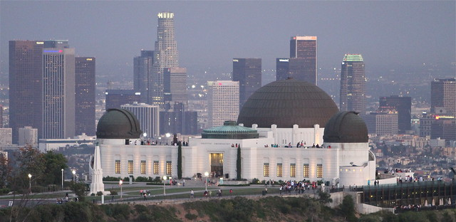 Griffith Observatory in Los Angeles, California shot from Mt. Hollywood.