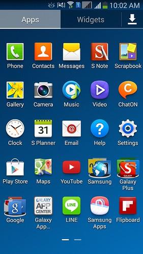 App tray ของ Samsung Galaxy Note 3 Neo