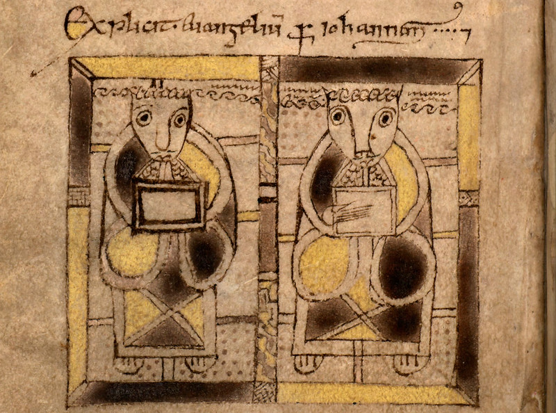 Евангелисты (?). The Book of Deer , 10th-century. Cambridge University Library