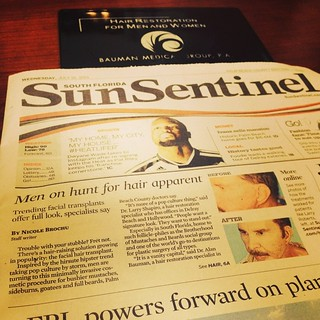 One of our #beardtransplant patients was featured on the cover of the South Florida Sun Sentinel today. #cosmetic #surgery #trend baumanmedical.com