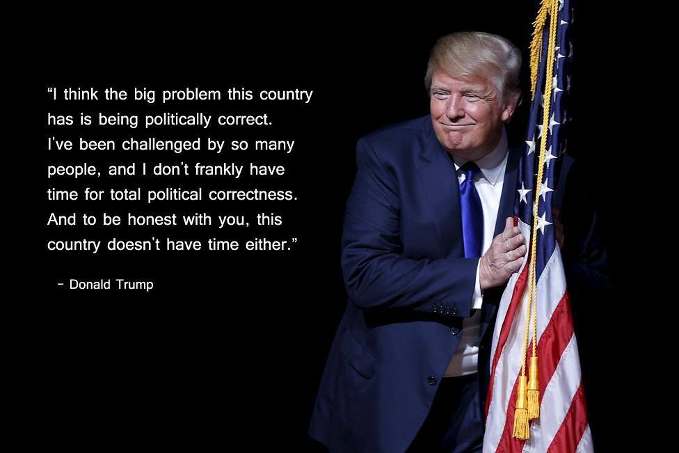 Donald Trump hugs flag