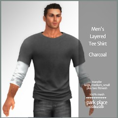 [PP Casuals] Men's Layered Tee Shirt - Charcoal (T)