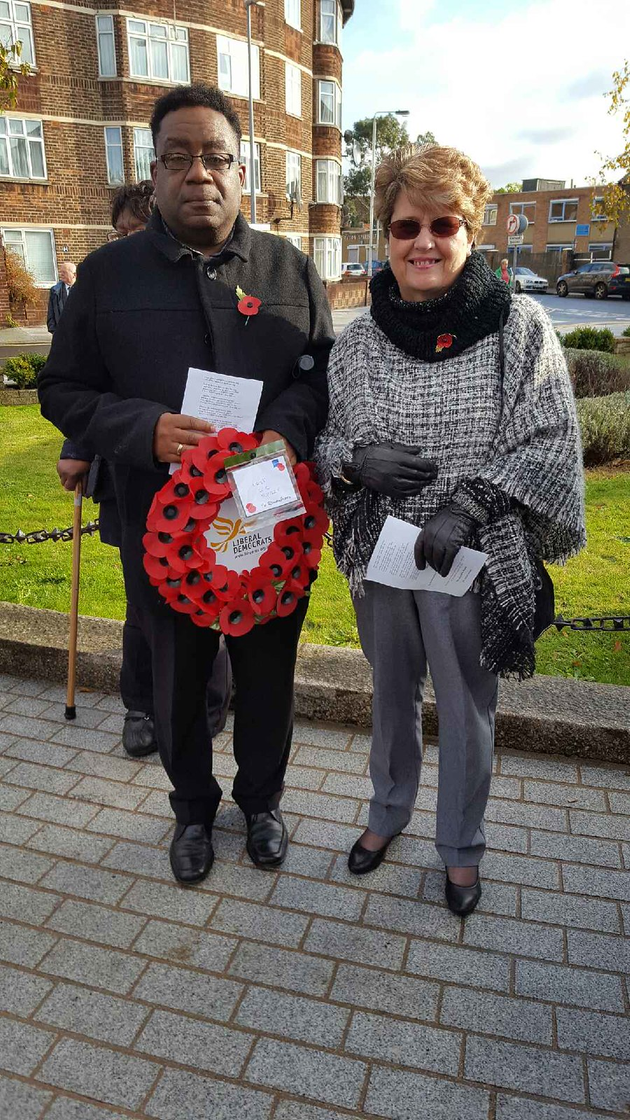 Cann Hall Liberal Democrat FOCUS Team members Liz Phillips and Rupert Alexander laid a wreath at the Harrow Green Memorial
