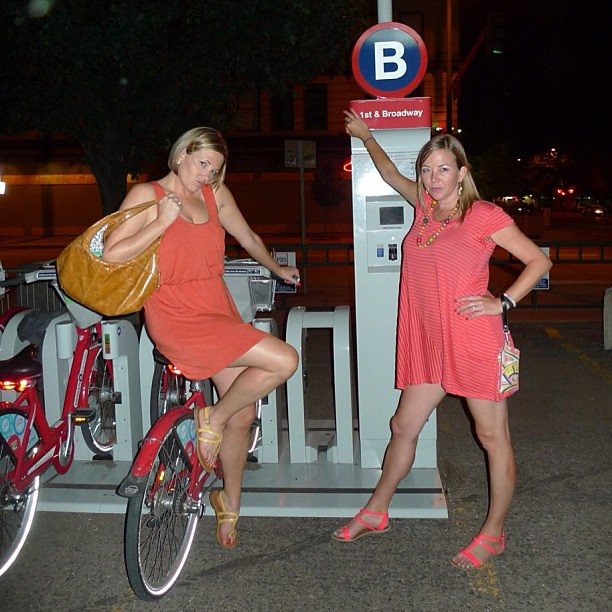 Real women ride B-cycle home from the bars.