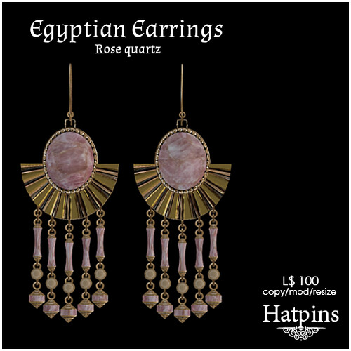 Hatpins - Egyptian Rose Quartz Earrings