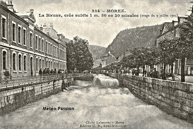 crue-éclair de la Bienne à Morez, suite à l'orage du 9 juillet 1905 météopassion