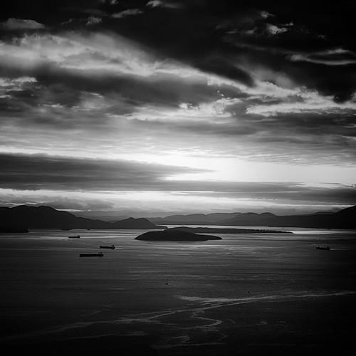 sunset blackandwhite seascape islands bellingham blanchard tankers blanchardmountain