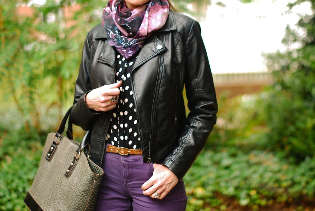 Biker jacket, polka dot blouse & purple skinnies