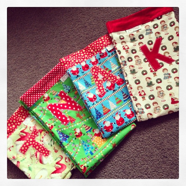 Some personalised Santa sacks a friend ordered last night.... Think I might have to make new ones for my kids!