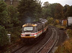 A HST heading for the Carstairs line has been diverted round the Edinburgh 'Sub' on a damp and wet 10th October 1993. It is seen just after passing through the old Morningside Road Station....