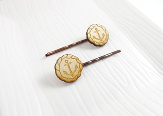 Ahoy Anchors Wood Hairpins