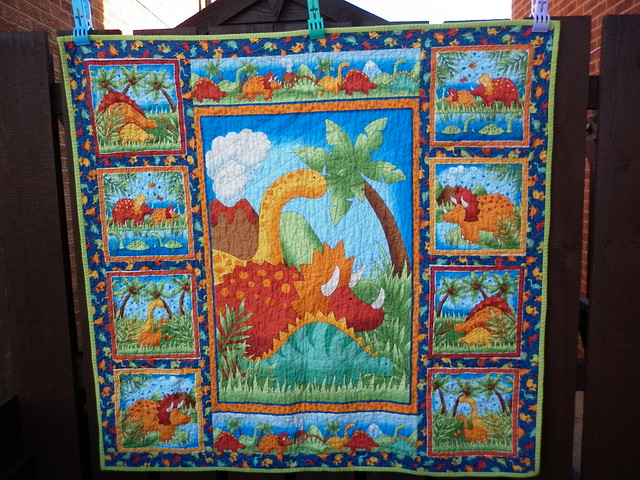 Dinosaur quilt (front) - after washing