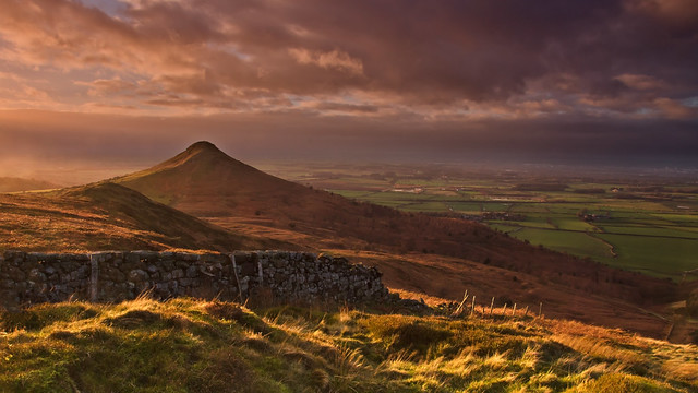 Light flare at Roseberry Topping.