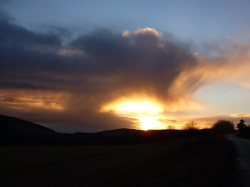 winter sunset sky clouds scotland moray rothes