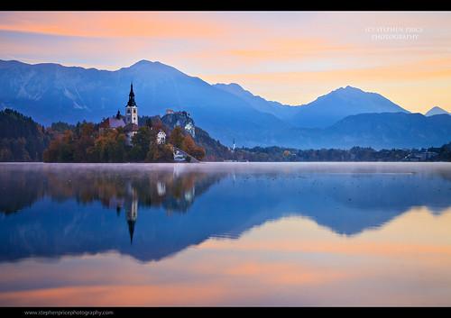 travel autumn lake reflection landscape dawn october slovenia predawn lakebled steveprice