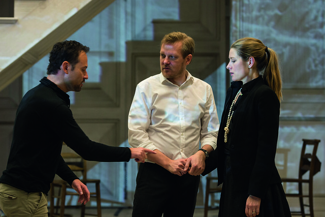 Malin Byström and Mariusz Kwiecień with Kasper Holten in rehearsal for Don Giovanni, The Royal Opera ©ROH/Bill Cooper, 2014