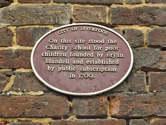Photo of Charity School, Liverpool and Bryan Blundell red plaque