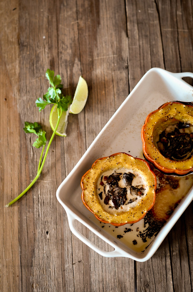 Baked Acorn Squash with Mushroom Sauce