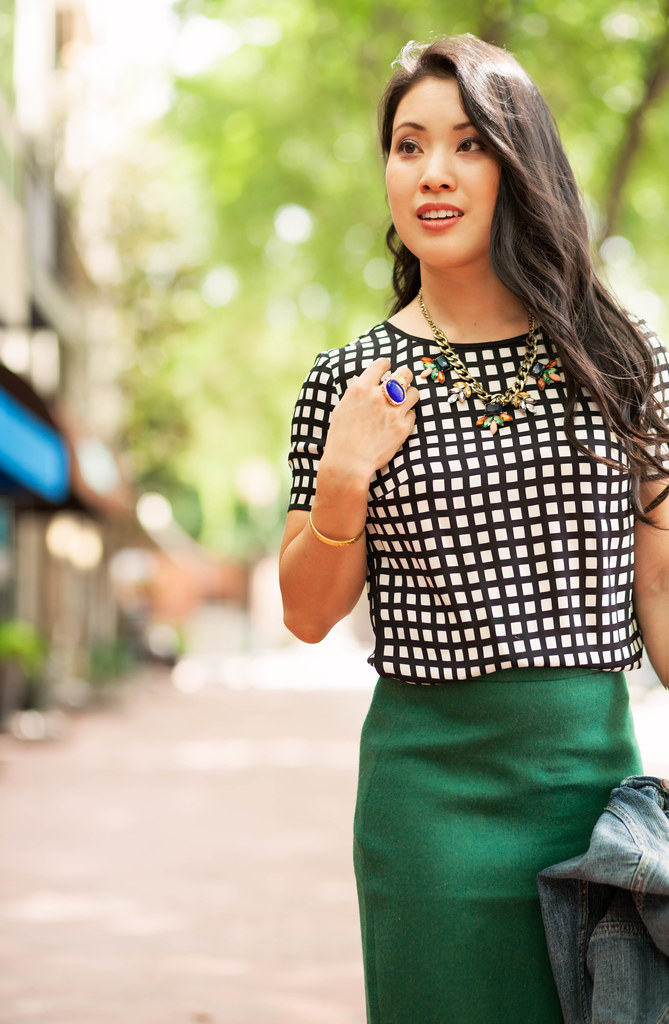 cute & little blog | petite fashion | windowpane silk shirt, green pencil skirt, denim jacket, navy pumps, statement necklace