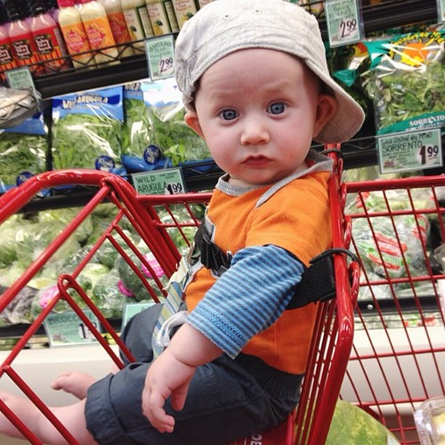 His first time riding in the cart.