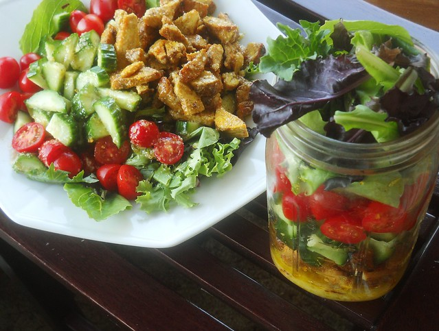 Chicken Shawarma with Lemon Garlic Dressing: In salad jar form and plated.  #paleo