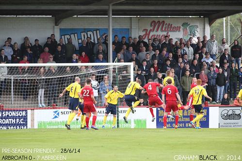 Arbroath 0 - 7 Aberdeen - An Aberdeen corner flies into the Arbroath box