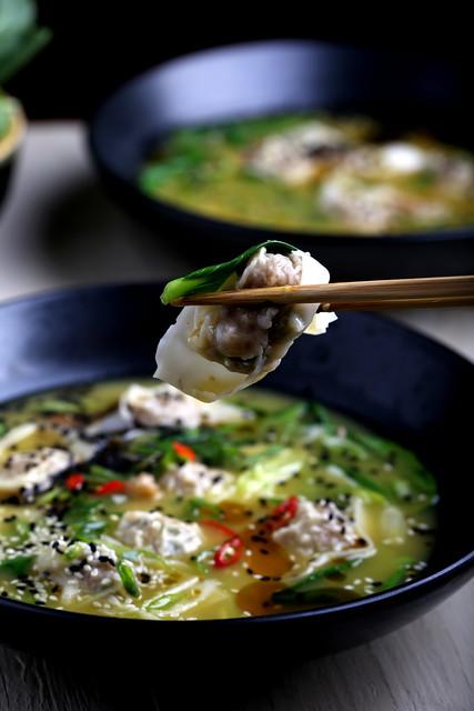 Faux Pork Wonton Soup with Bok Choy