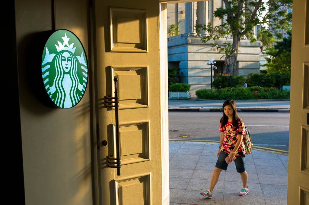 Walking into the Fullerton Waterboat house Starbucks is walking into a piece of Singapore's history.