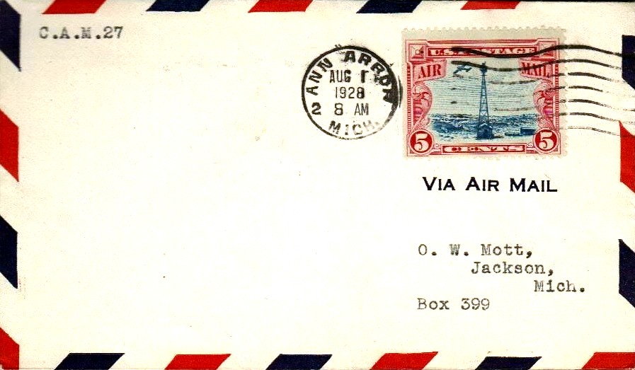 Air Mail First Flight cover, Ann Arbor to Jackson, Michigan, August 1, 1928.