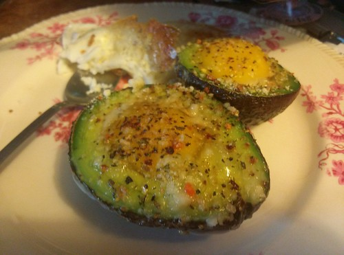 baked avocado with egg and cheese