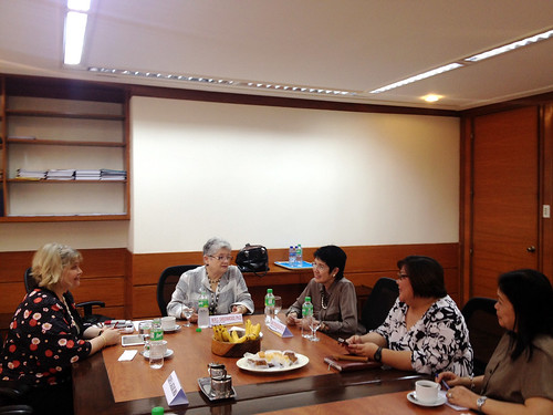 <p>UH President M.R.C. Greenwood and UH Manoa College of Social Sciences Dean Denise Konan meet with the Commissioner on Higher Ed and discussed their issues in the Philippines and ways to increase student and faculty exchange with the University of Hawai'i.</p>