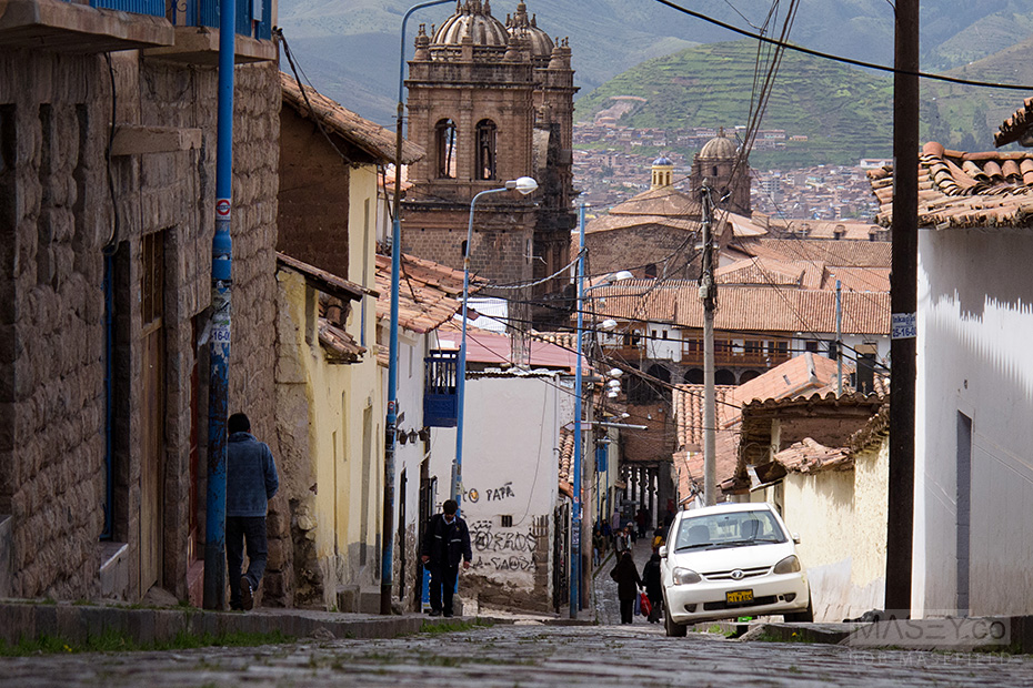 Heading down one of Cuzco's cobbled roads.