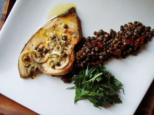 Seared Swordfish with Frilly Herb Salad, Lentils de Provence