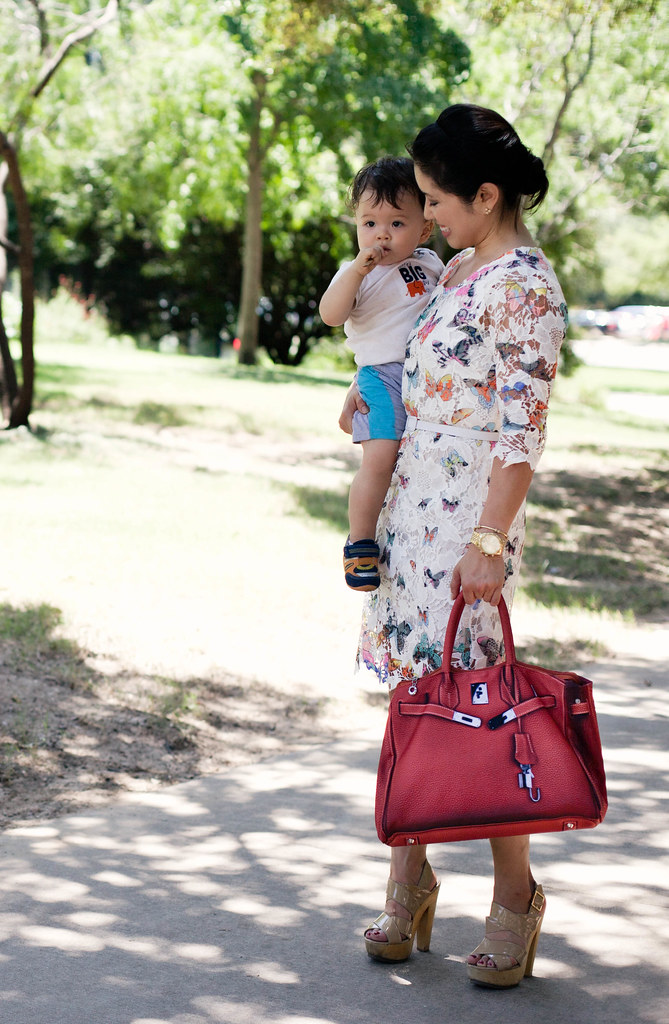 choies butterfly lace dress, orange red satchel bag