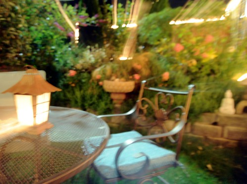 Lights, patio table, flowers, lamp, chair, night, A Garden for the Buddha, Seattle, Washington, USA by Wonderlane