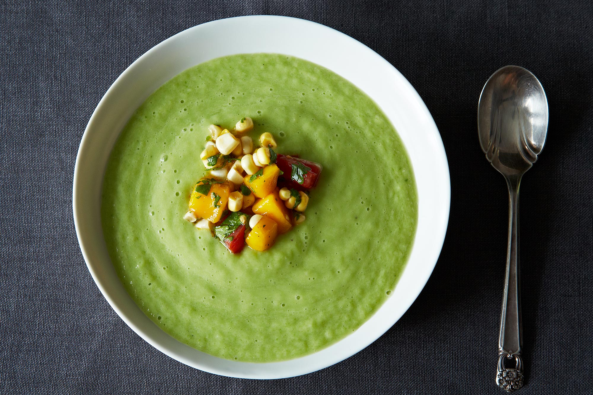 Chilled Cucumber and Avocado Soup with Mango Salsa Recipe