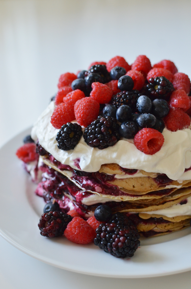 pancake berry birthday cake