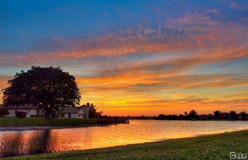 sunset lake tree colorful hdr photomatix topazplugins
