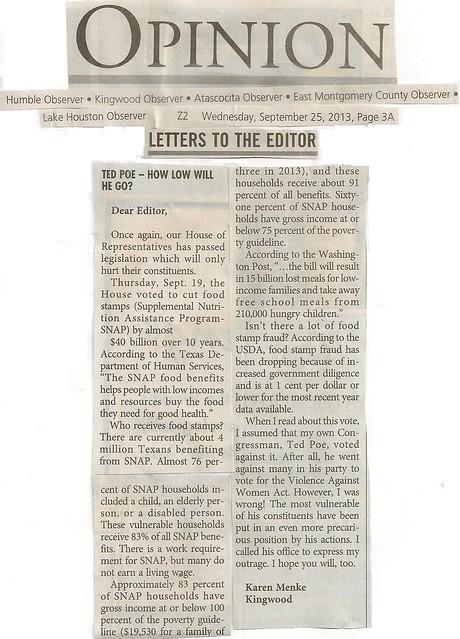Karen Menke Kingwood Observer Article