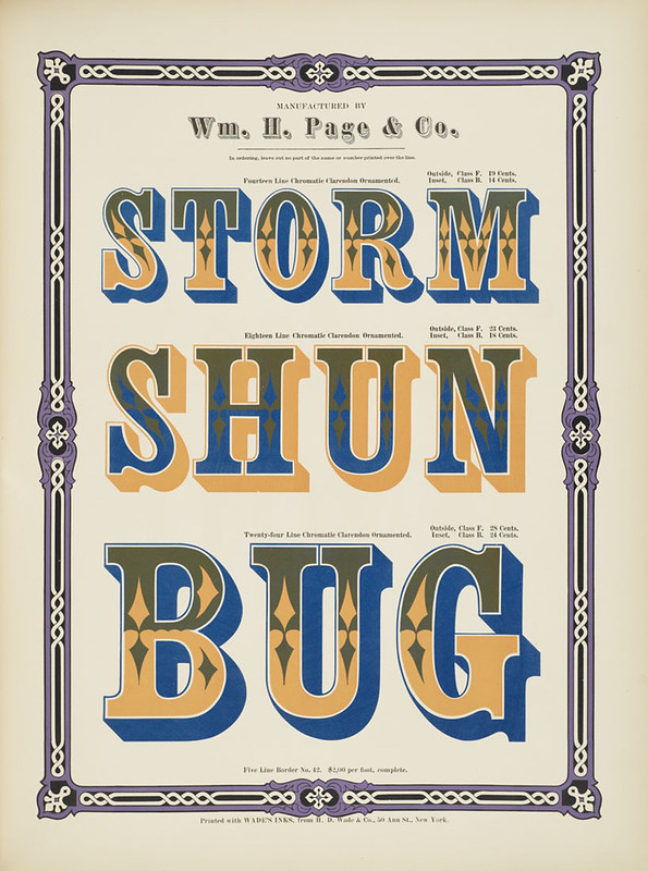 Specimens of chromatic wood type, borders 1874 - [via Columbia U] (Storm + Shun + Bug) Clarendon ornamented