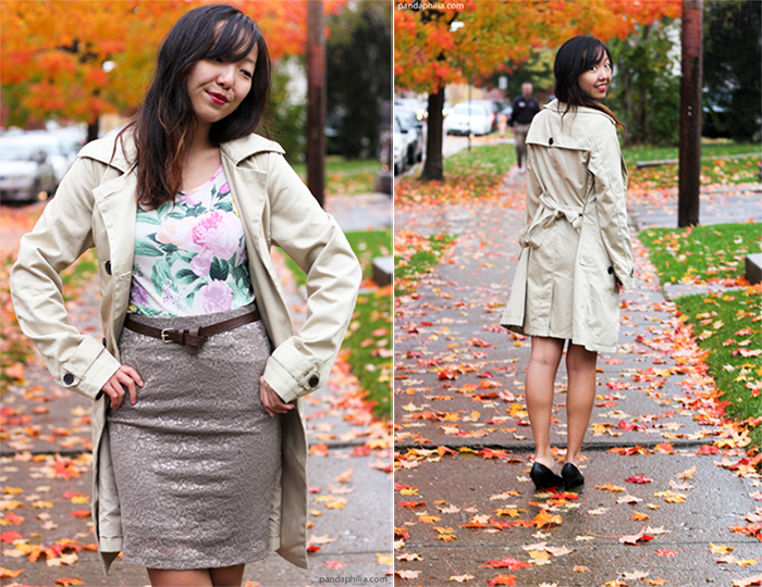 trench coat pastel floral lace pencil skirt